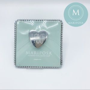 """MARIPOSA Beaded Square Tray with """"Love You"""" Heart"""
